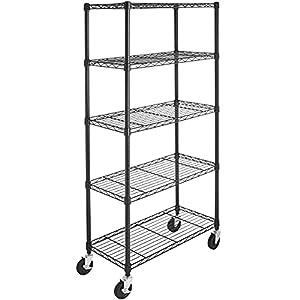 Amazon Basics 5-Shelf Adjustable, Heavy Duty Storage Shelving Unit on 4'' Wheel Casters, Metal Organizer Wire Rack, Black (30L x 14W x 64.75H)