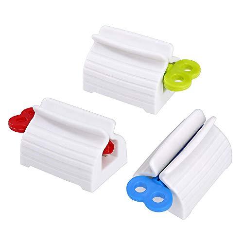 Zahnpasta-Quetscher, 3er-Pack Zahnpasta-Spenderhalter für Zahnpasta, Cremes, Kosmetika (Rot, Blau, Grün)