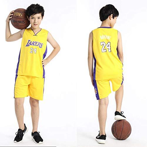 Bambini Ragazzi Ragazze Uomo Adulto NBA Kobe Bryant #24 LBJ LA Lakers Retro Pantaloncino E Maglia Basketball Jersey Basket Maglie Uniforme Top & Shorts 1 Set, Non Sbiadire,Giallo,XL