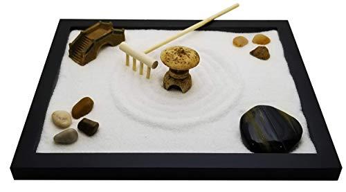 Zenfy Zen Sand Garden for Desk with Rake, Rocks and Figures
