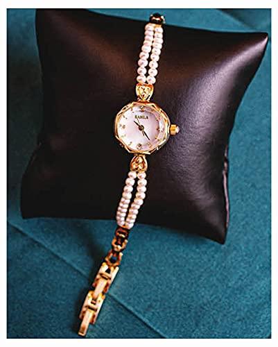 CHXISHOP Reloj de la Pulsera de Las Mujeres Movimiento de Cuarzo Reloj de la Pulsera de Perla Ajustable Reloj de la Perla Natural del Agua Dulce