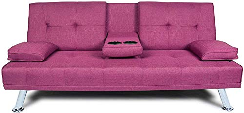 NOUVCOO Futon Sofa Bed Modern Linen Upholstered Couch, Convertible Folding Recliner Lounge Futon Couch with 2 Cup Holders/Armrest/Metal Legs for Living Room, Home Furniture, School Dormitoryl, Purple
