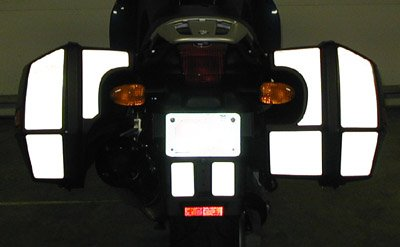 Moto Equip Black Reflective Sticker Kit made from 3M Scotchlite Vinyl tape compatible with BMW K1200RS Side Bag Reflective 3M Vinyl Tape ME-RK-3