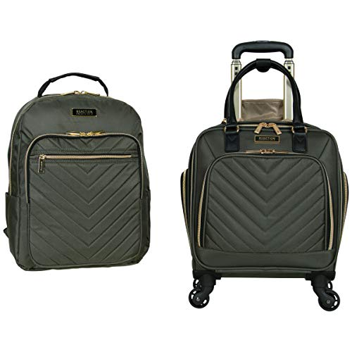 """Kenneth Cole Reaction Women's Chelsea 2-Piece 17"""" 4-Wheel Spinner Underseater Carry-On & Matching 15"""" Laptop Backpack, Olive"""
