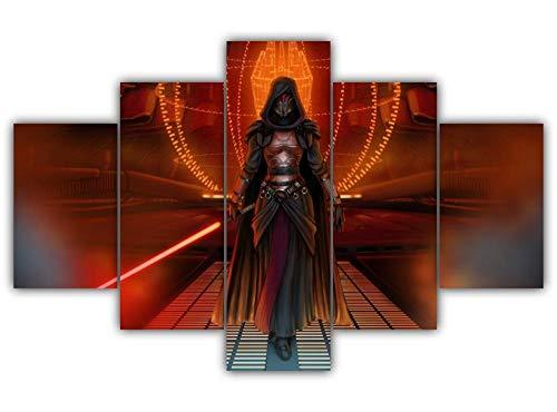 KOPASD Piy Painting 5 Piezas Cuadro sobre Lienzo Imagen Señor Sith Femenino Impresión Pinturas Murales Decor Dibujo con Marco Fotografía para Oficina Aniversario200X100Cm