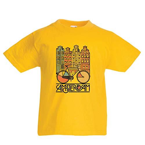 lepni.me Camiseta para Niño/Niña Bicicleta Vintage de la Ciudad de Ámsterdam, Holanda, Viajes de Vacaciones (12-13 Years Amarillo Multicolor)