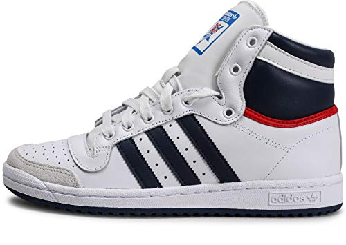 adidas Top Ten Hi, Baskets Mode Mixte Adulte - Blanc (Neo White S08/New Navy FTW/Collegiate Red), 37 1/3 EU