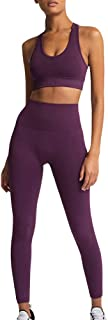 Women's Workout Outfit 2 Pieces Seamless Yoga Leggings with Sports Bra Set Sportswear