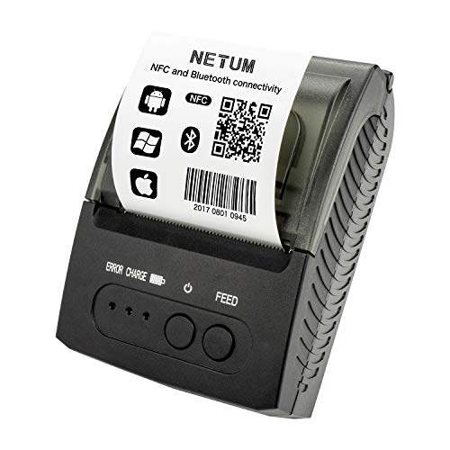 NETUM Bluetooth Receipt Printer, Portable 58mm Mini Thermal Pos Printer, Compatible with Android/Windows