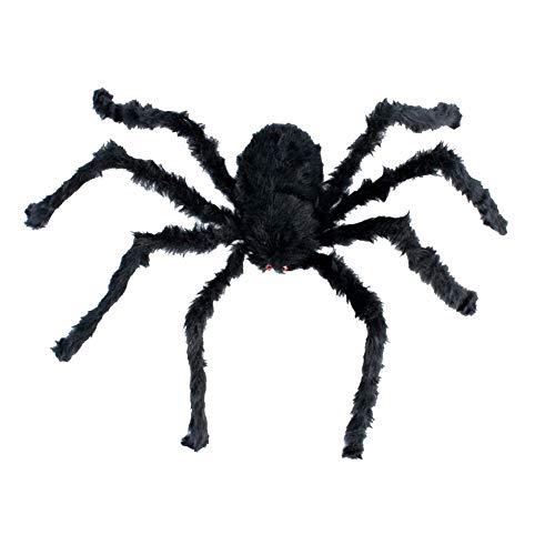 song rong 75cm Halloween Spiders Schwarz Große Spinnen-Plüsch-Spielzeug Realistische haarige Spinne Halloween-Party Scary Dekoration 1PC