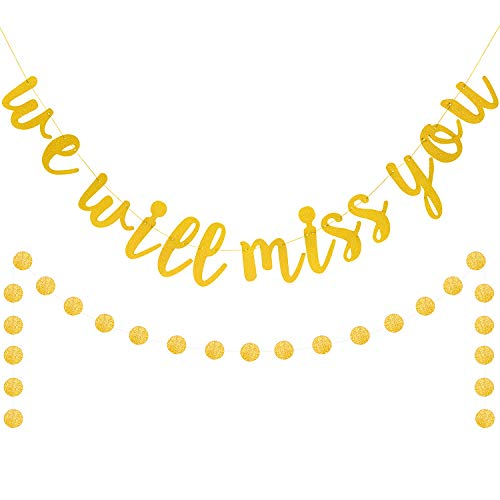 We Will Miss You Banner Gold Glitter Retirement Party Farewell Banner Retirement Sign Going Away Party Decor Farewell Party Decorations Office Work Party Decorations