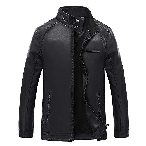 Men's Winter Fashion Jacket,Veepola Zipper Thermal Coat Leather Jacket Black