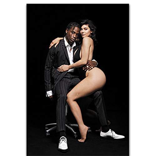linshel Neue Kylie Jenner Travis Scott Star Rap Malerei Kunst Poster Druck Leinwand Wohnkultur Bild Wanddruck-60x80cm Kein Rahmen