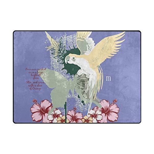 MALPLENA Flying Cute Parrot Zone Tapis antidérapant Pad Moyen d'entrée Paillasson Tapis de Sol Chaussures Grattoir, Polyester, 1, 63 x 48 inch