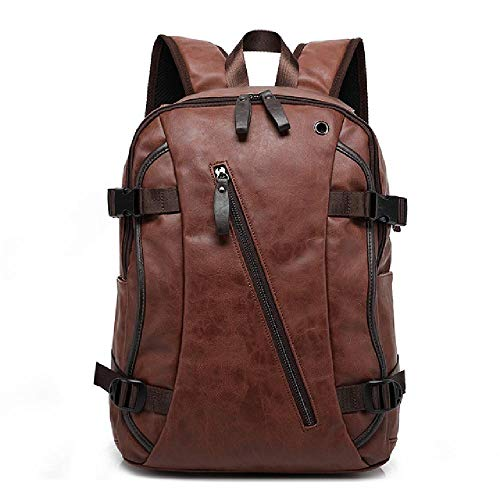 Retro Men's Backpack PU Leather Student School Bag Computer Bag Travel Backpack
