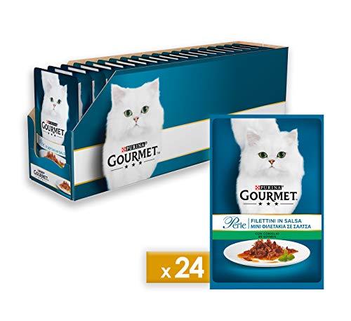 Purina Gourmet Perle Umido Gatto Filettini in Salsa con Coniglio, 24 Buste da 85 g Ciascuna, Confezione da 24 x 85 g