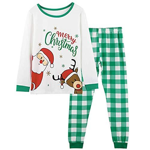 Panpany Pyjama de Noël Famille, Parent Enfant Vetement Coton Ensemble de Pyjama Motif Renne De Père Noël Hommes Femmes Enfants Haut De Costume de Noël + Pantalon Carreaux Pantalon de Nuit 1 à 5 Ans
