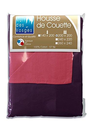 Nuit des Vosges Cotoval Housse de Couette Coton Bicolore Réversible 200x200 cm Coton Framboise/ Violine 200 x 200 cm