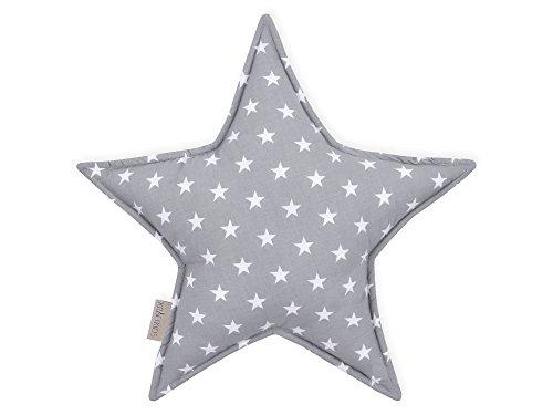 KraftKids Sternkissen kleine weiße Sterne auf Grau, 45 cm großes Kuschelkissen, Deko-Kissen für das Kinder-Zimmer