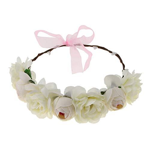Generic Noiva de Seda Camélia Flor Grinalda Casamento Acessórios para O Cabelo Rosa Vermelha - Bege