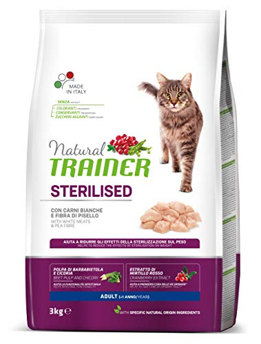 Natural Trainer Cat Sterilised Adult con Carni Bianche e Fibra di Pisello 3 kg - 3000 Gr