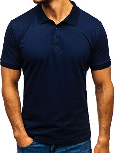 BOLF Herren T-Shirt Polo Poloshirts Freizeit Kragen Core Kurzarmhemd Schlichtes Polohemd Kurzarm Shirts Basic Einfarbig Figurbetont Slim fit 171221 Dunkelblau M [2B2]
