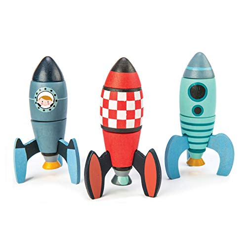 Rocket Construction Toy Set - 18 Pc Wooden Construction Set Builds 3 Rocket Ships - Made with Premium Materials and Craftsmanship - Develops Dexterity, Problem Solving and Imaginative Play -Ages 3+