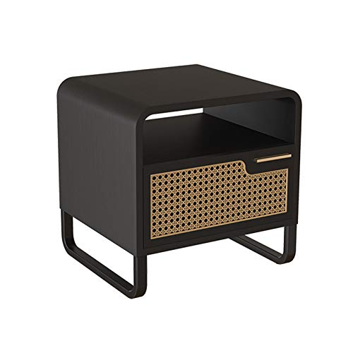 Rattan storage cabinet, bedside storage cabinet, simple solid wood bedside cabinet, multifunctional coffee table with drawers, strong and durable living room coffee table, used in office and dormito