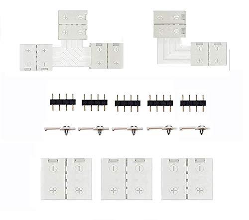 Conectores de Luces de Tira LED para adaptador de tira de 10 mm de RGB SMD 5050, tira de luz LED 12 V-24 V, incluye 15 piezas de accesorios sin soldadura, proporciona de piezas para bricolaje
