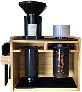 Barista Lab プレミアム竹製キャディラックオーガナイザー ディスプレイとコーヒーステーション エアロプレスコーヒーメーカー用 フィルターカップのアクセサリーを収納 シリコンドリッパーマット付き