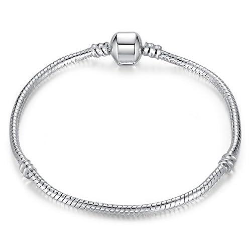 b3f03b8aa RKC Jewelz 15cm to 22cm Silver Plated Pandora style Snake chain CHARM BRACELETS  For Women Girls