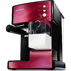 Breville VCF046X PrimaLATTE 3 in 1 Kaffeemaschine, 1.5 liters, Metallic/Rot