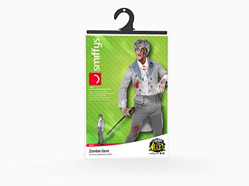 SMIFFYS Smiffy's 44357L - Zombie Gent Costume Grigio con Giacca Pantalone Mock Top & Cravat, L