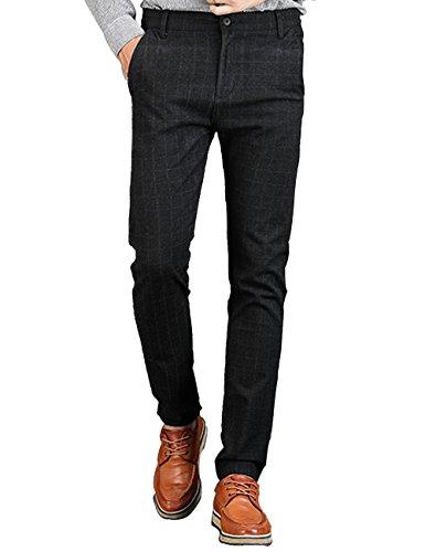VEGORRS Men's Slim-Fit Wrinkle-Resistant Flat-Front Casual Pant