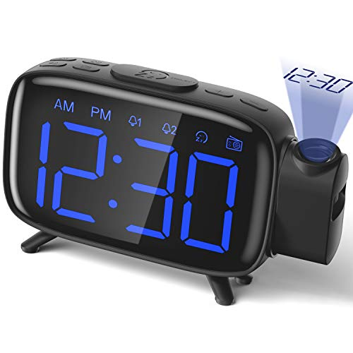 Projection Alarm Clock Radio Alarm Clock Digital Clock with Power Adapter Alarm Clocks for Bedrooms ELEHOT