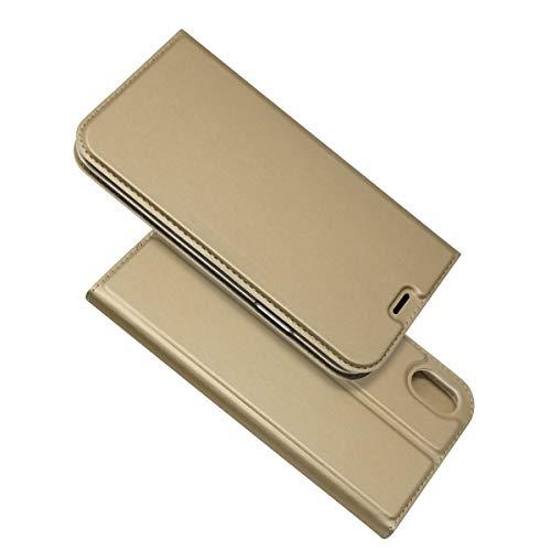 iPhone XR ケース【COKOVI】iPhone XR ケース 手帳型 カードホルダー付き 手帳型 マグネット吸着 カード収納 スタンド機能 耐衝撃 合皮レザー 超薄型 (ゴールド)