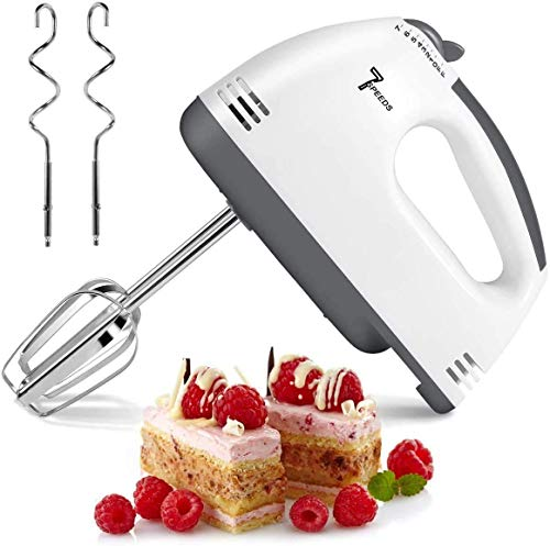 7 Speed Handheld Mixer, 2021 New Electric Hand Mixer Portable Kitchen Blender Stainless Steel Egg Whisk with 2 Beaters, 2 Dough Hooks for Cake, Baking & Cooking