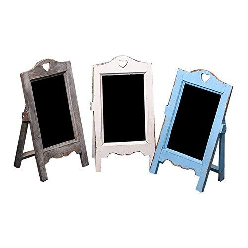 Magnetic Board Vintage Wooden Small Blackboard Advertising Menu Message Board Bar Cafe Door Signboard For Home Office Display Black Boards (Color : Blue, Size : 35x12x20cm)