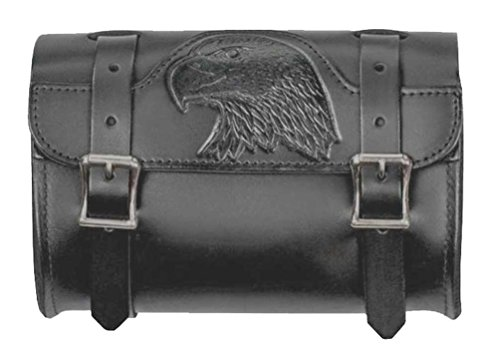 Mascorro Motorcycle Embossed Eagle Small Tool Pouch Bag, Genuine Leather BP50B
