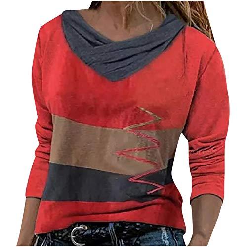 Camisas Mujer Nuevo Blusas para Mujer Sexy Tops Camisetas Camisa Manga Larga Botón Cuello en V, 2021 Novísimo Elegantes Moda Estampado Suelta Sudadera Tapas Geométrico Baratas Tapas(E Rojo,XL)