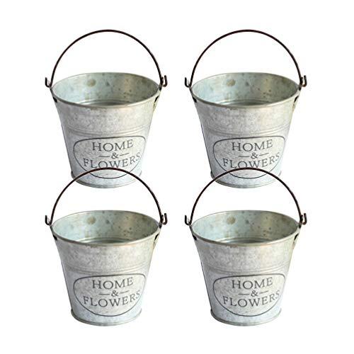 DOITOOL 4 Stks Ijzeren Bloempotten Vintage Bloemenemmers Metalen Vazen Voor Balkon Tuin Vensterbank