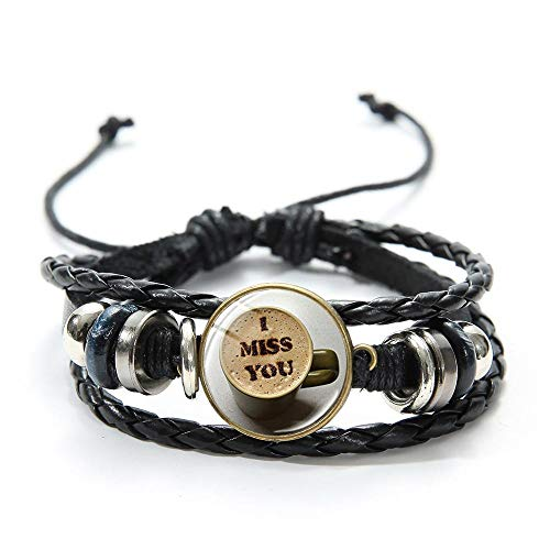 Coffee Latte Carving Love Glass Art Photo Pulsera Ajustable Negro Multicapa Pulseras De Cuero para Mujeres Hombres Café Regalo