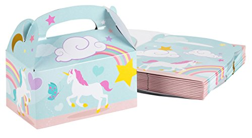 Treat Boxes - 24-Pack Paper Party Favor Boxes, Unicorn Design Goodie Boxes for Birthdays and Events, 2 Dozen Party Gable Boxes, 6 x 3.3 x 3.6 Inches