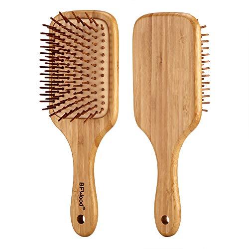 BFWood Groß Haarbürste zum Entwirren von dickem und lockigem Haar – Bambusgriff mit abgerundeten Holzborsten,MEHRWEG