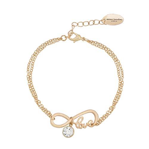 Caramel Jewellery London per L'Amore di Sparkle Infinity Friendship Bracciale Placcato Oro 18ct. Bracciale Charm Effetto Cristallo per Donna 20cm