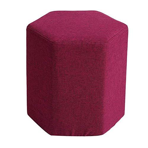 JXJ Taburete para pies Otomano Cambiar Banco de Zapatos Taburete de Maquillaje Taburete de Tela arcoíris Taburetes tapizados hexagonales Reposapiés Sala de Estar de Madera, 13 Colores (Color: Ro