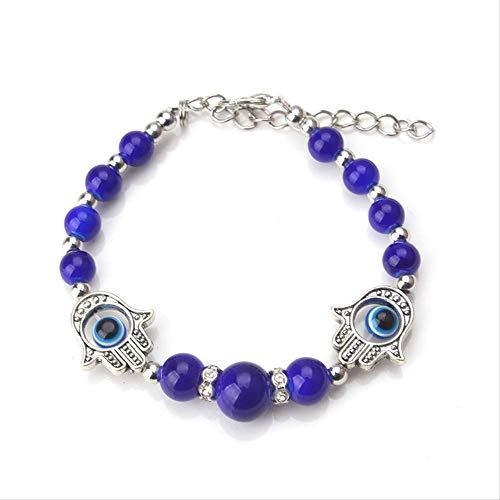 CHIY-GBC Pulsera Azul Evil Eye Hamsa Pulsera con Dije de Mano Pulsera de Cadena de eslabones Ajustable para Mujer joyería de Moda