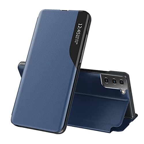 ESONG Funda Smart View para Samsung Galaxy M22,Ultra Delgado Inteligente Funda Flip Case Cover,Prima PU Cuero Carcasa con Clear Ventana,Moda Espejo Estuche Movil con Soporte Plegable-Azul