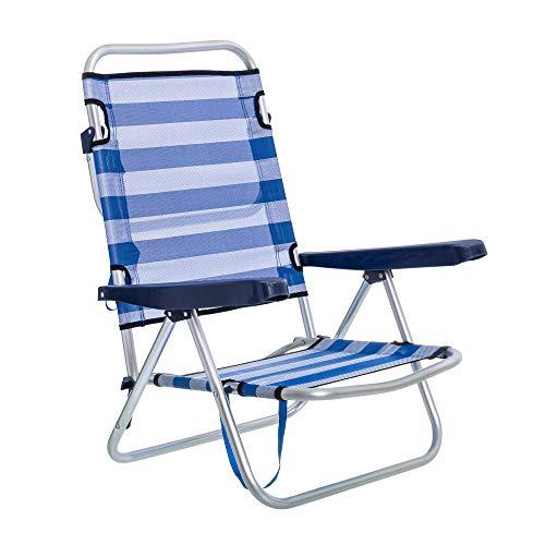 Silla de Playa Plegable reclinable Azul de Aluminio de 61x47x80 cm - LOLAhome