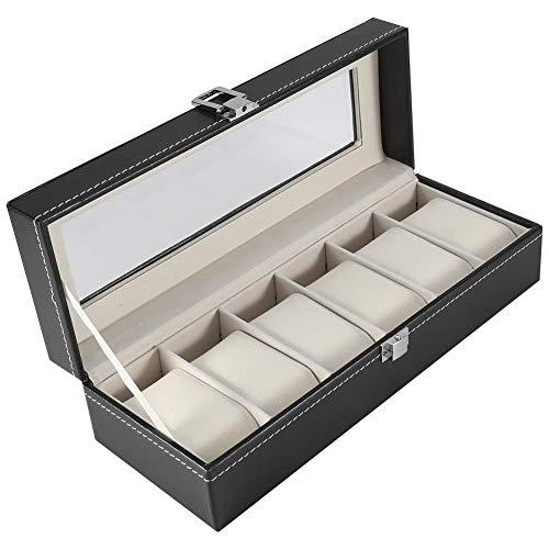 Asixx Uhrenbox, Uhrenkoffer für 6 Uhren aus Holz und PU-Leder mit Glas für Armbänder, Armreifen und Anderen Schmuck,Schwarz 30 x 11 x 8 cm